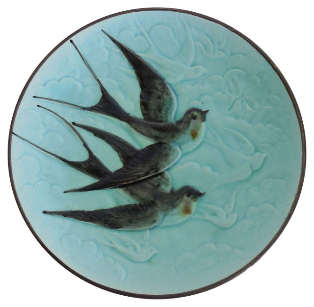 Majolica Swallow Wall Plate