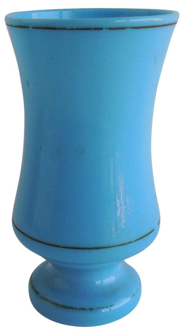 19th Blue Milk Glass Vase