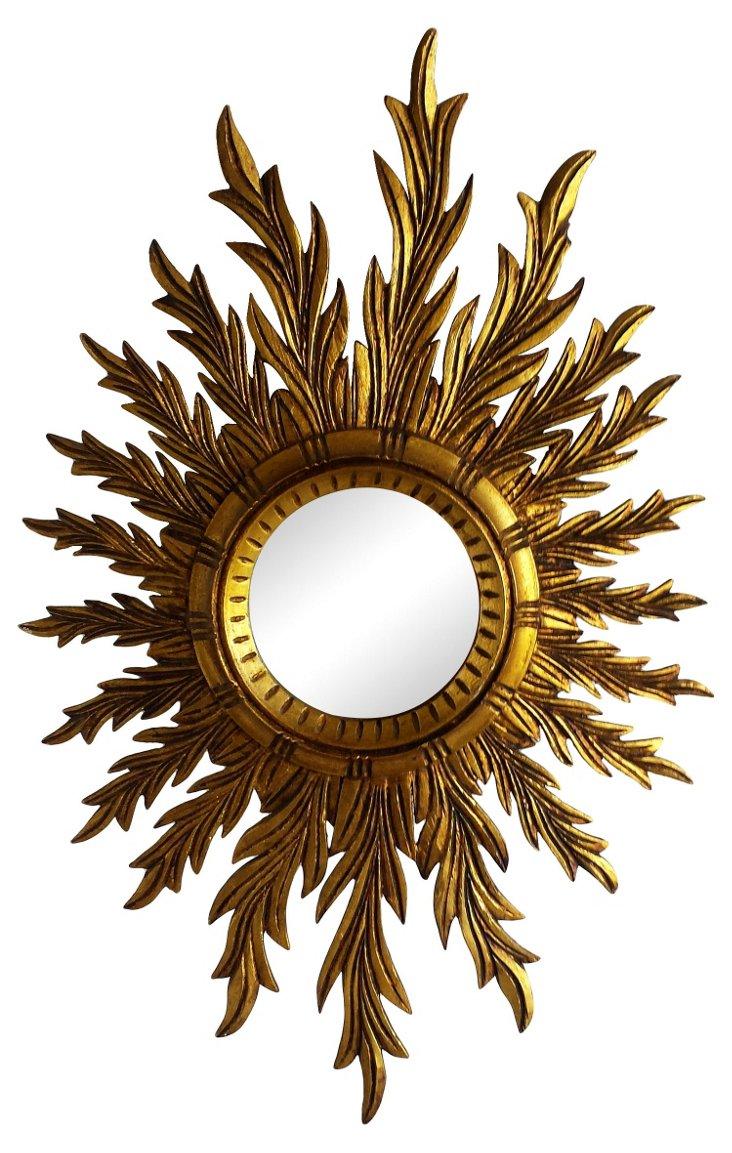 Oval  Sunburst Wood Mirror