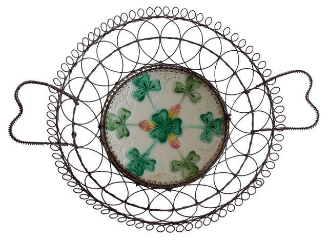 Majolica Shamrock Wire Basket
