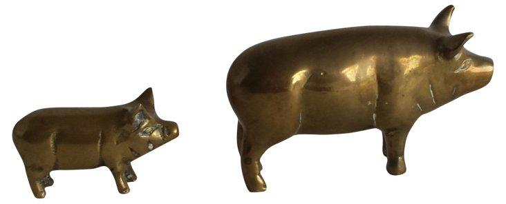 Brass Pigs, Pair