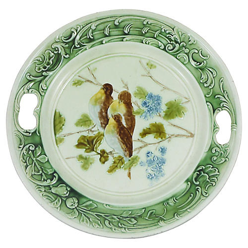Majolica Birds & Lilac Wall Platter