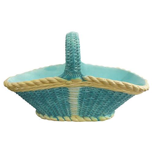 Large 19th English Majolica Basket
