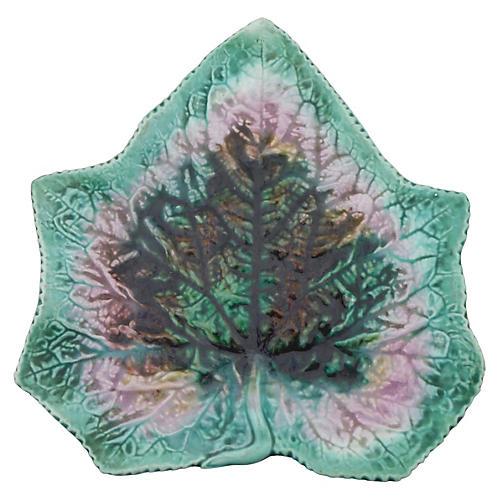 English Majolica Leaf Plate