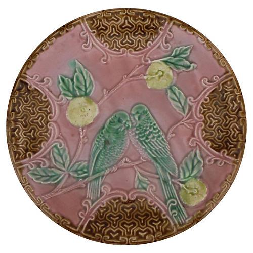 Majolica Parakeets Wall Plate