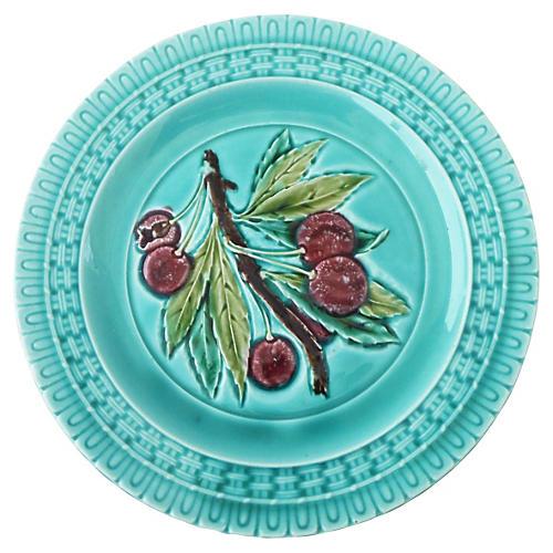 Majolica Cherry Plate