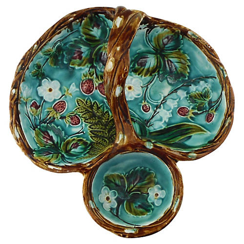 Majolica Strawberry Server