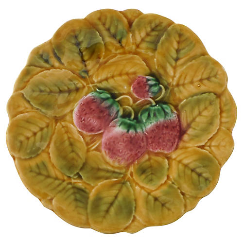 Golden Majolica Strawberry Wall Plate
