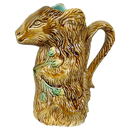 Majolica Squirrel Pitcher