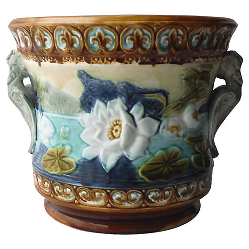 Majolica Water Lily Cachepot
