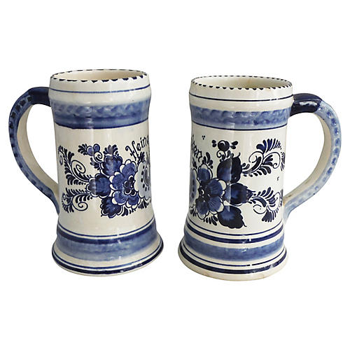 Blue & White Steins, Pair