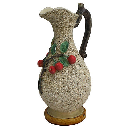 Majolica Cherry Pitcher