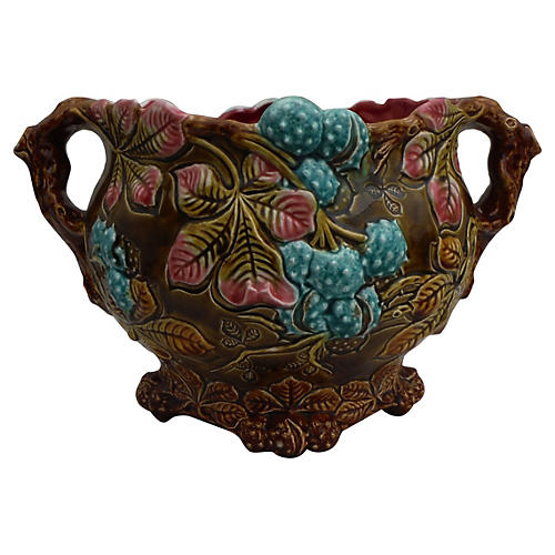 19th Majolica Chesnut Jardiniere