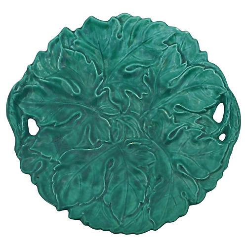 Green Majolica Large Handled Platter