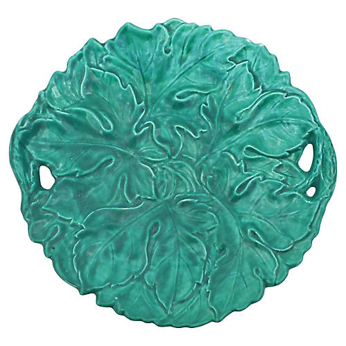 Green Majolica Large Handled Platter