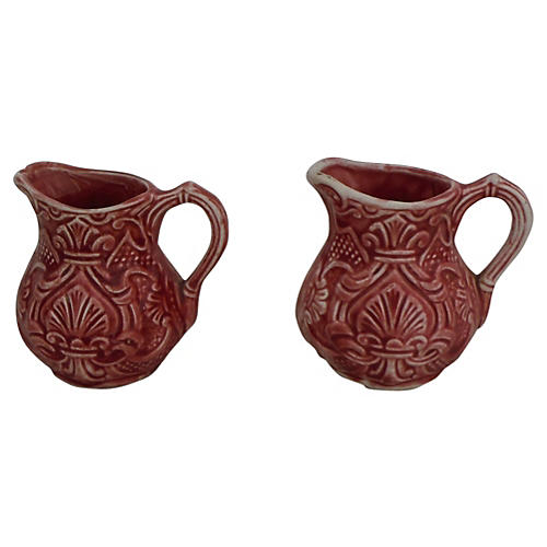 Majolica Pink Milk Pitchers, Pair