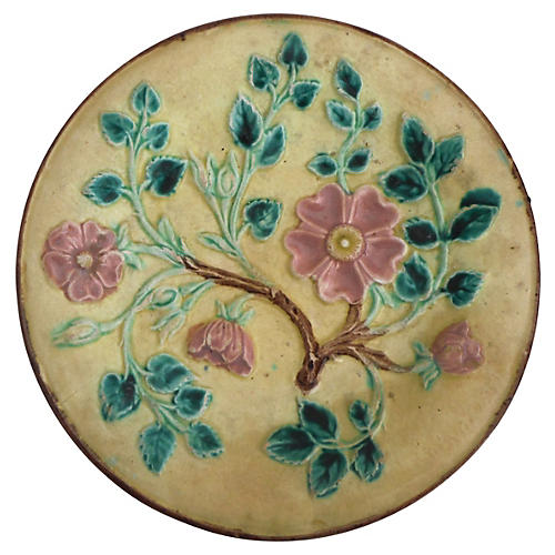 English Majolica Pink Floral Wall Plate