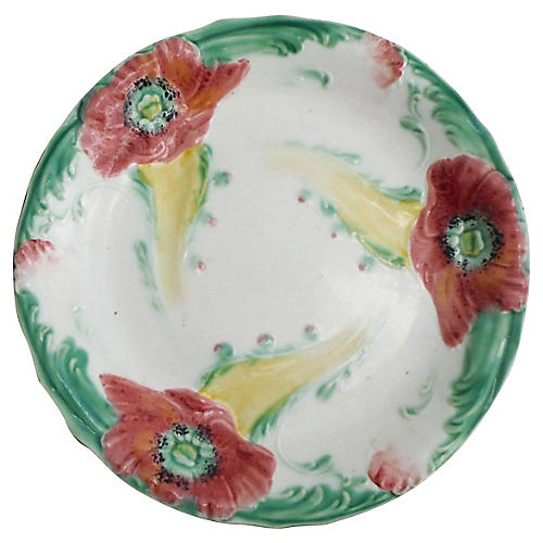 Majolica Poppies Wall Plate