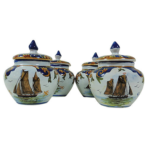 French Faience Boats Cream Pots, S/4