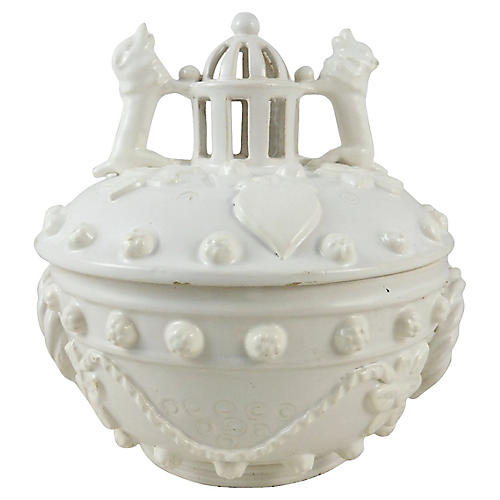 French Faience White Basket W/Dogs