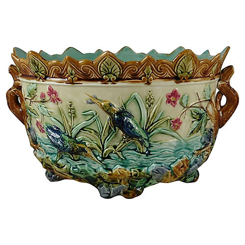 19th C. Majolica Kingfisher Jardiniere
