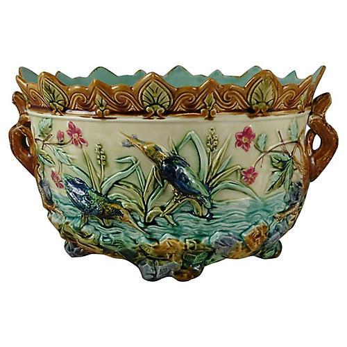19th C. Majolica Kingfisher Jardiniere