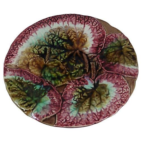 Majolica Begonia Cake Stand