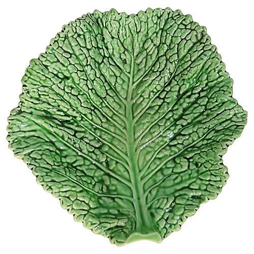 Majolica Cabbage Leaf Platter