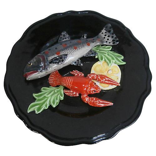 Majolica Fish & Crawfish Wall Platter
