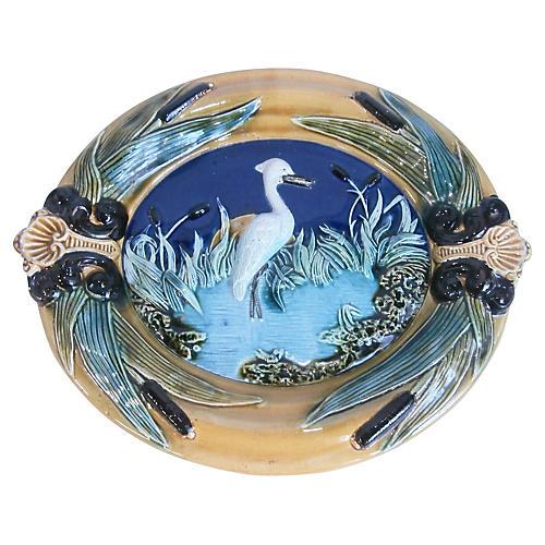 Majolica Heron Wall Platter