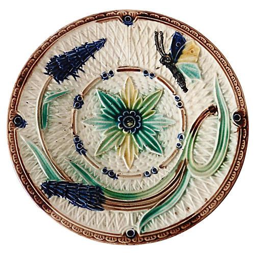 Majolica Butterfly & Flowers Wall Plate