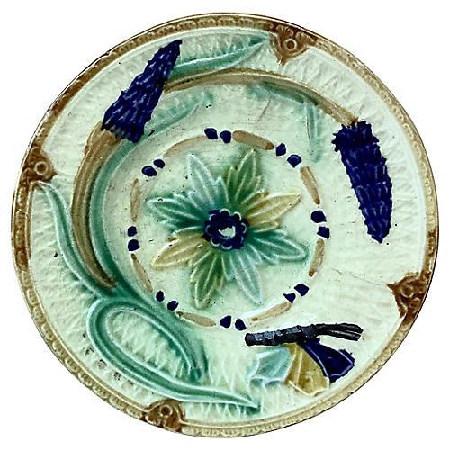 Majolica Butterfly & Flowers Plate