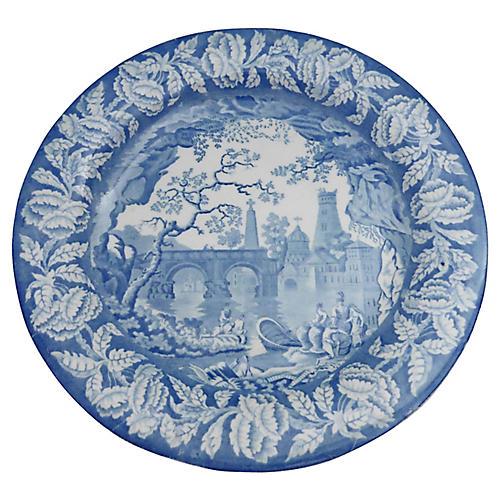 English Blue & White Transferware Plate
