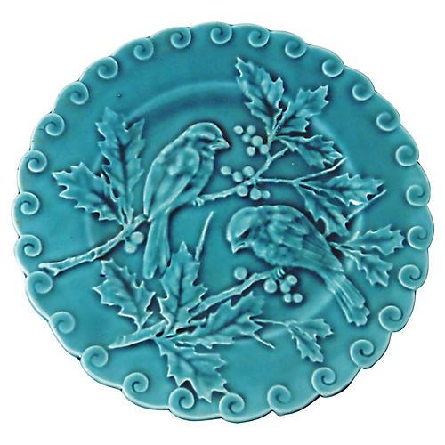 Blue Majolica Birds & Holly Wall Plate