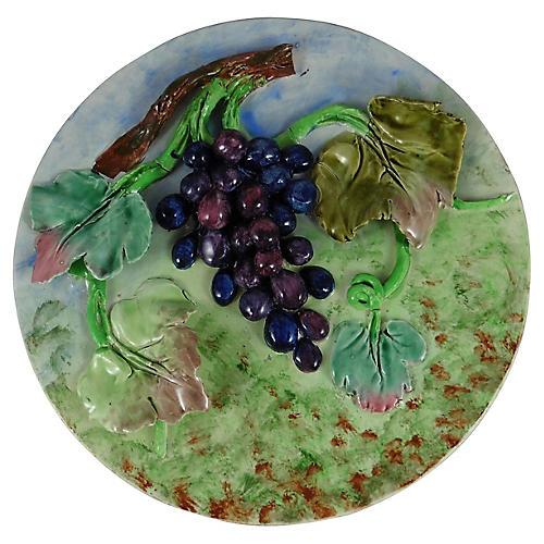 19th-C. Majolica Grape Wall Platter