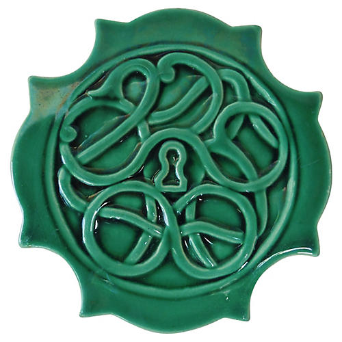Green Majolica Trivet