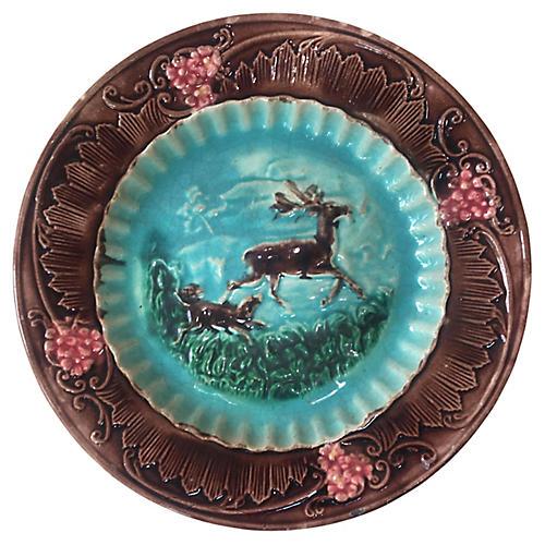 Majolica Deer & Dog Plate