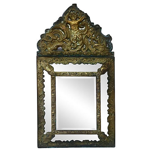 French Repousse Brass Mirror
