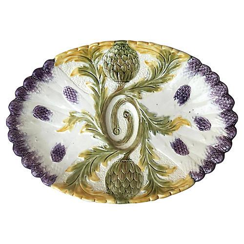 Majolica Asparagus Platter Orchies