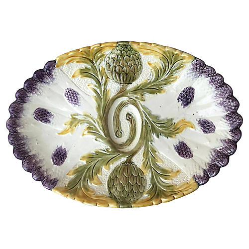 Majolica Asparagus Platter Orchies