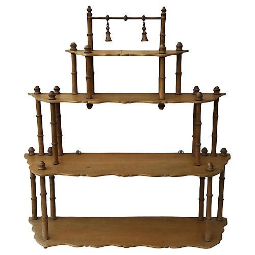 French Faux-Bamboo Wood Shelf