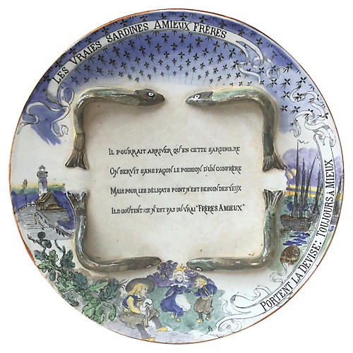 George Dreyfus Majolica Sardines Plate