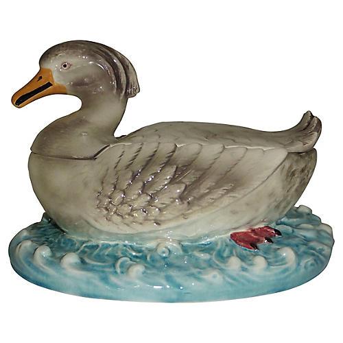 Majolica Duck Tureen
