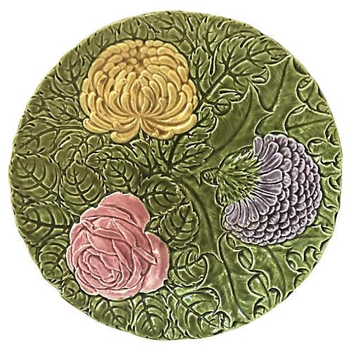 Large Majolica Flowers Platter