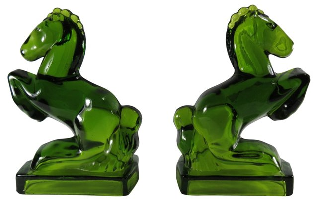 1920s Green Horse Bookends