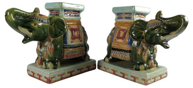 Ceramic Elephant Stands, Pair