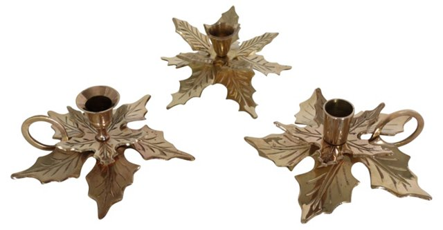Brass Holly Candleholders, S/3