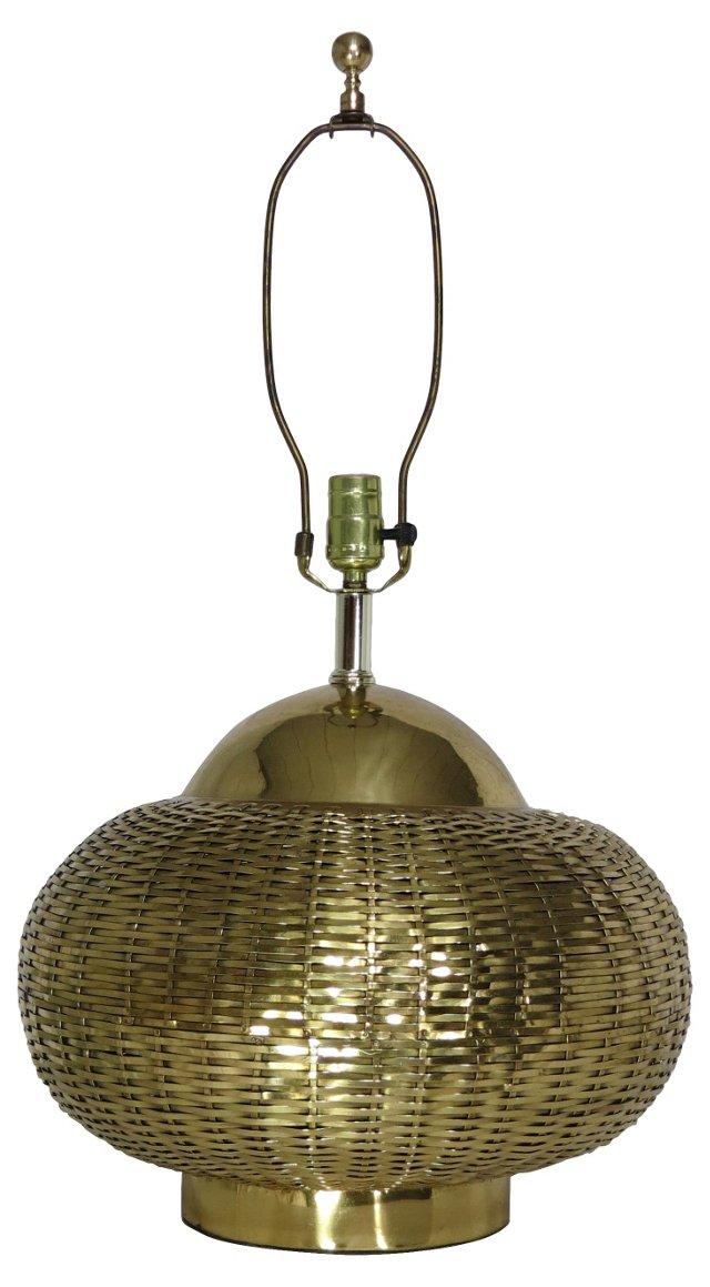Brass Basketweave Lamp