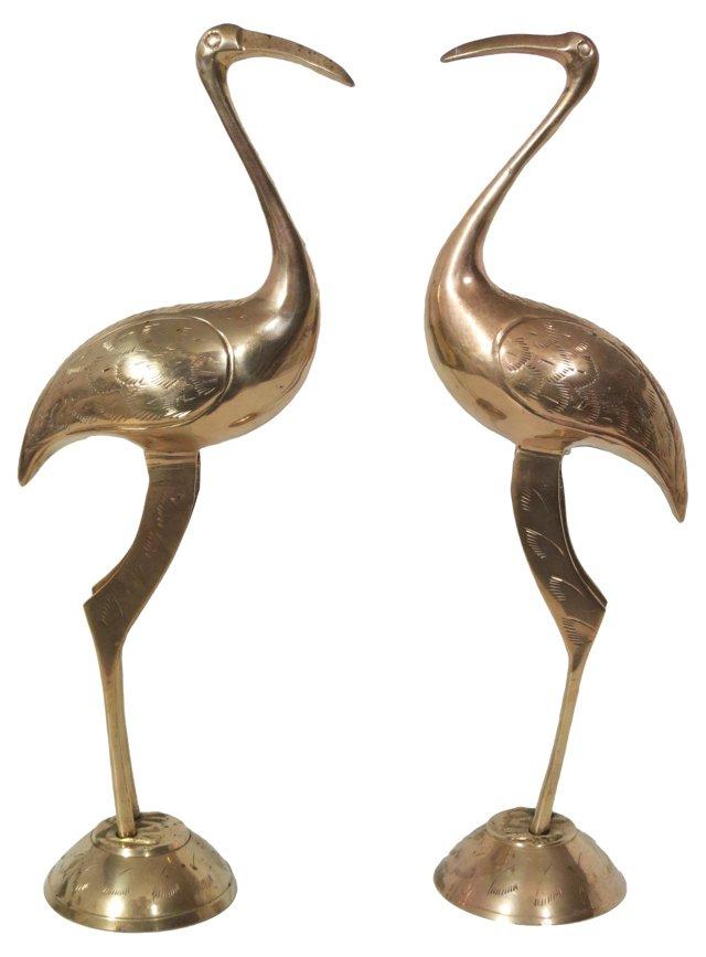 Brass Cranes, Pair