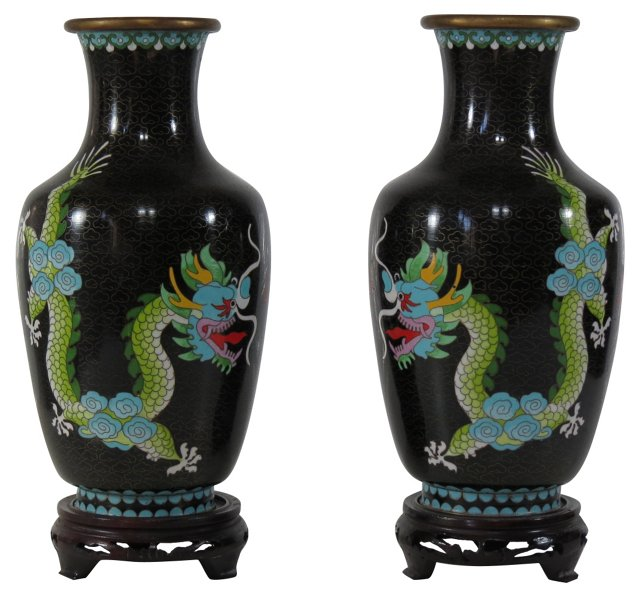 Cloisonné Double Dragon  Vases, Pair